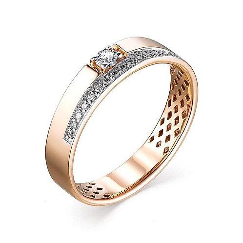 Кольцо золотое обручальное с бриллиантами