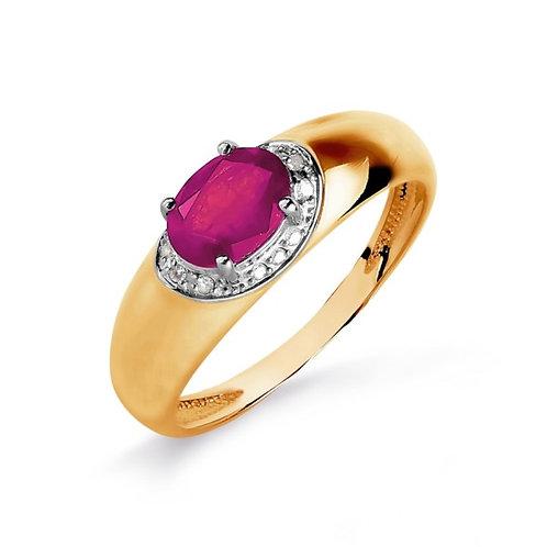 Кольцо золотое  с бриллиантами и рубином