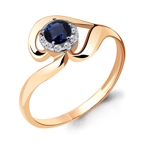 Кольцо золотое с бриллиантом и сапфиром