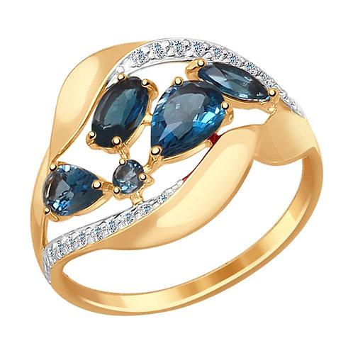 Кольцо золотое с топазами
