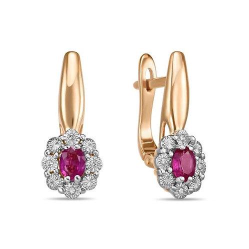 Серьги золотые с рубинами и бриллиантами