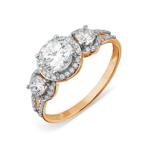 Кольцо золотое  с бриллиантами и  топазами Сваровски