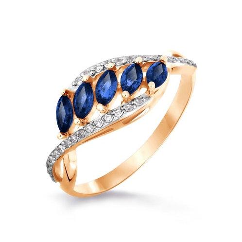 Кольцо золотое  с бриллиантами и сапфиром