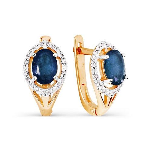 Серьги золотые с бриллиантами и сапфирами
