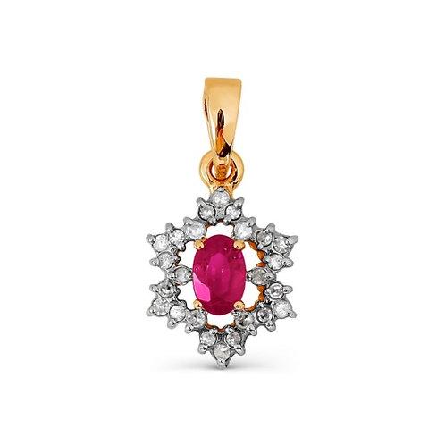 Подвеска золотая с бриллиантами и рубином