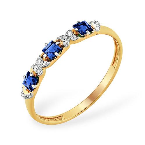 Кольцо золотое с бриллиантами и сапфирами