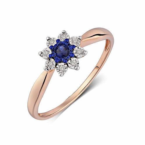 Кольцо золотое с сапфиром и бриллиантами