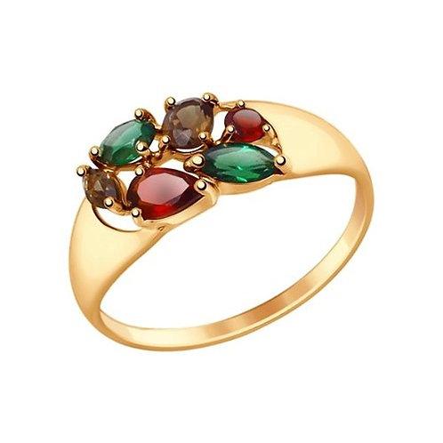 Кольцо золотое с гранатами и раух-топазами