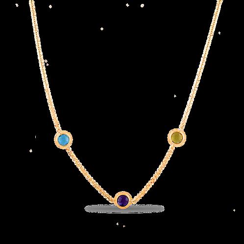 Колье золотое с топазом, аметистом и хризолитом