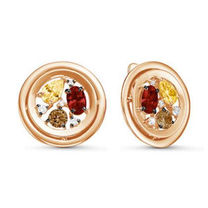 Серьги золотые с цитрином,раух-топазом и гранатом