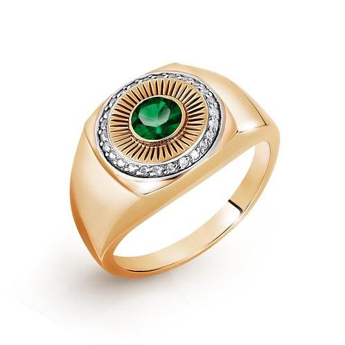 Кольцо золотое c бриллиантами и сапфиром