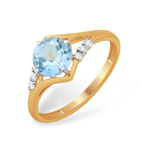 Кольцо золотое с голубым топазом
