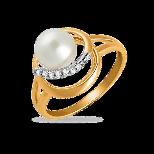 Кольцо золотое с жемчугом