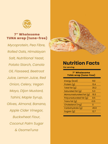 "7"" Wholesome TUNA wrap (tuna-free)"