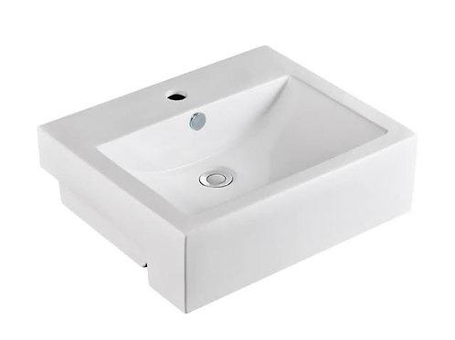 Square Semi-Recess Ceramic Basin