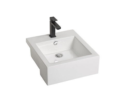 Square Semi-Recess Ceramic Basin