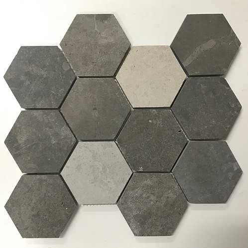 Hexy 75 Portugal Grey Honed Sandblast Mosaic Tile