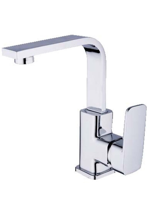 Square Basin Mixer with Rounded Edges (swivel spout)