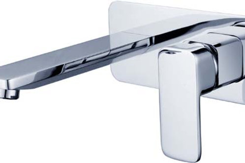 Square Wall Mixer & Spout with Rounded Edges