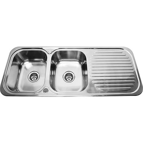 1180mm Double Bowl Kitchen Sink with Strainer