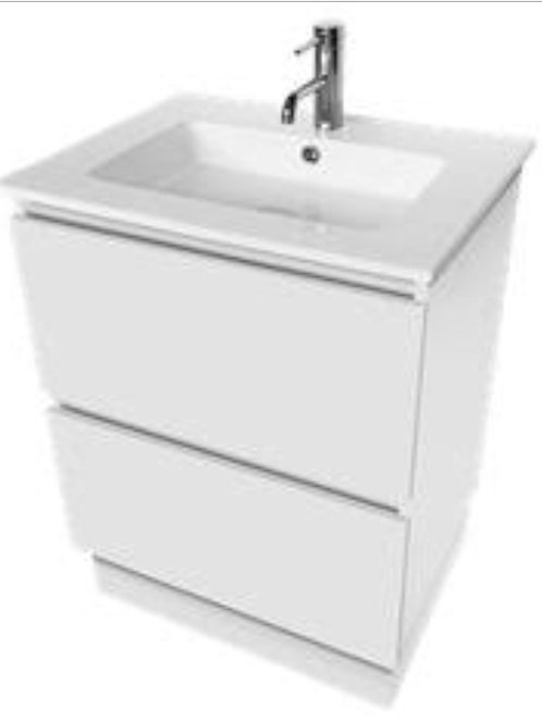 600mm Fingerpull Vanity Unit on Kickboard