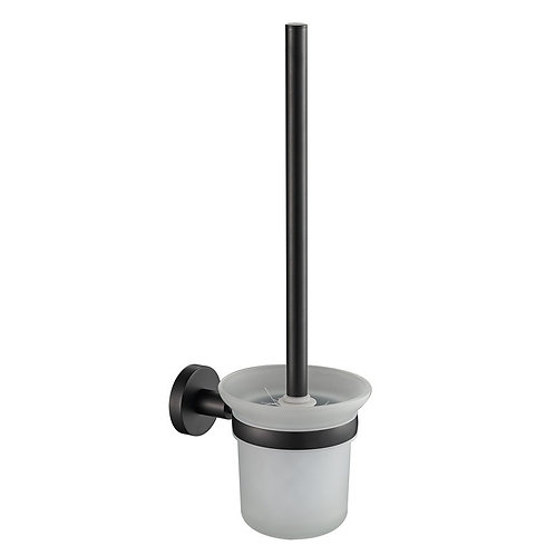 Round Toilet Brush & Holder in Matte Black