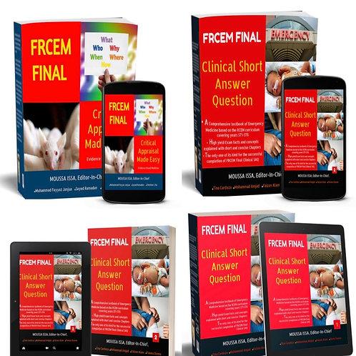 FRCEM FINAL: SAQ 1 + SAQ 2 + Critical Appraisal + ebook for each book (2020 Ed.)