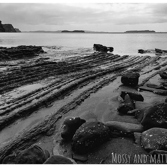 Rocky coastline striations