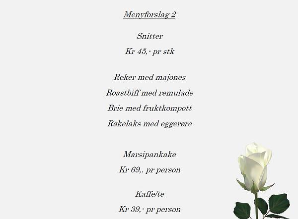 Meny forslag 2, minnestund, Hamar Cateri