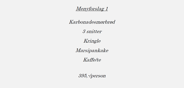 Meny forslag 1, minnestund, Hamar Cateri