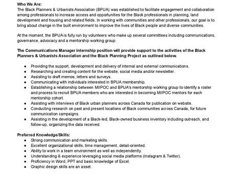 The BPUA is hiring!