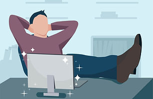 picture of a happy man with feet resting on a desk next to a sparkling new computer for unlimited repair plans at creative computer solutions in cape coral swfl
