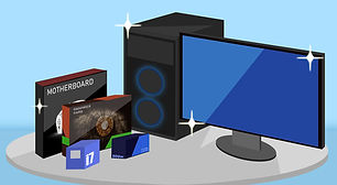 picture of computer parts like case, motherboard, cpu, and gpu for a custom built computer in cape coral swfl