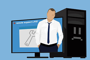 picture of a technician and computer for remote software support cape coral swfl