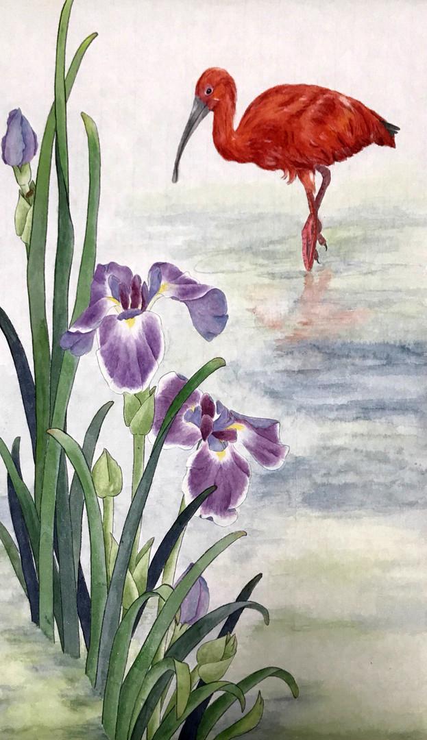 Red Ibis, Purple Iris 朱鷺、紫鳶