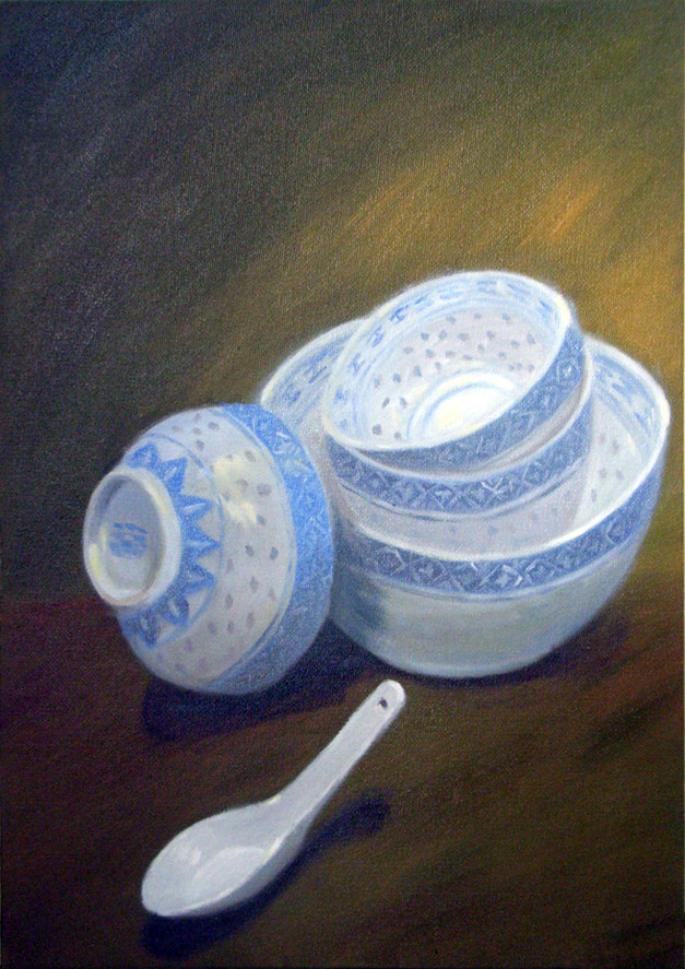 Chinese Style Bowls and Spoon