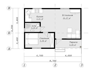 План каркасного дома для проекта 19