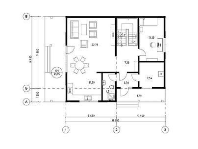 План каркасного дома для проекта 04