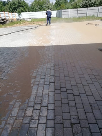 Очистка тротуарной плитки кварцевым песк