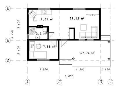 План каркасного дома для проекта 05