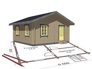 строительство дачных домиков, строительство дачных домов. проект Д1.