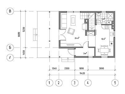 План каркасного дома для проекта 16