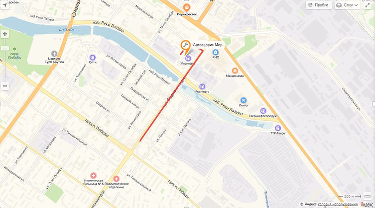 Схема проезда к автосервису Мир в Твери