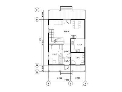 План каркасного дома для проекта 11