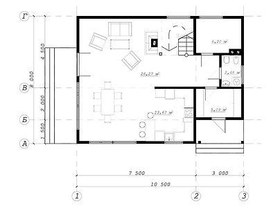 План каркасного дома для проекта 02