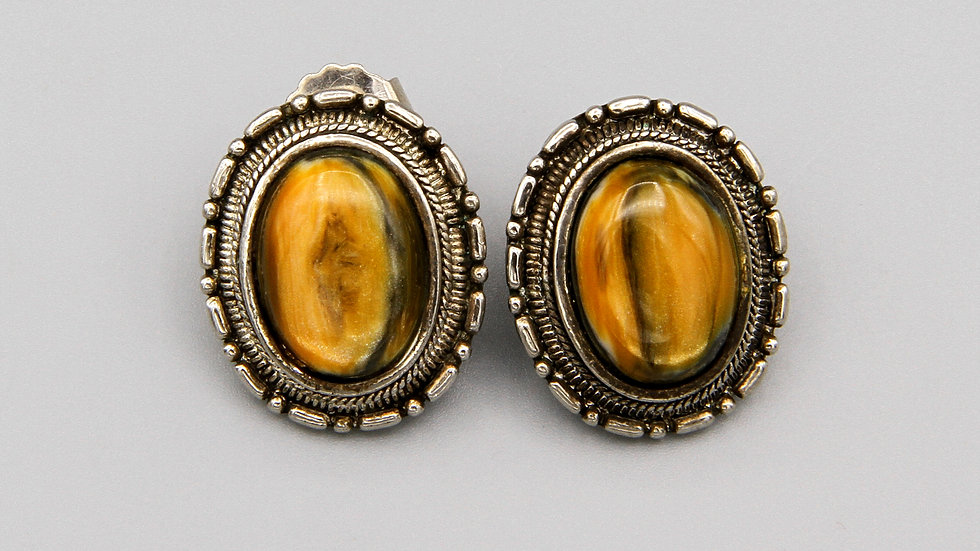 Oval Studs Earrings Sterling Silver and Faux Banded Agate Glass