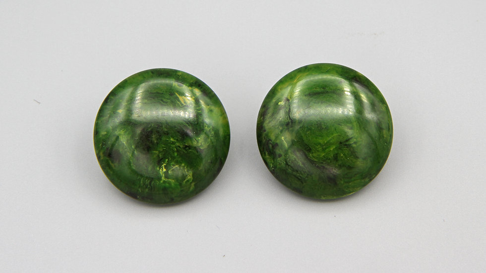 Modeled Green Bakelite Earrings