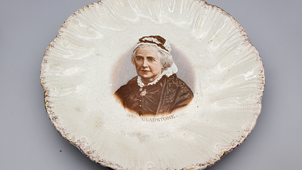 Mrs Catherine Gladstone Antique 1890s British Pottery Escalloped Gilt Plate