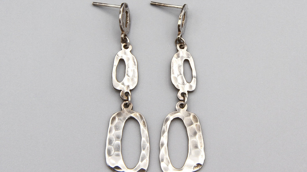 Long Geometric Dangle Earrings Brutalist Fashion Accessories Hammered Sterling