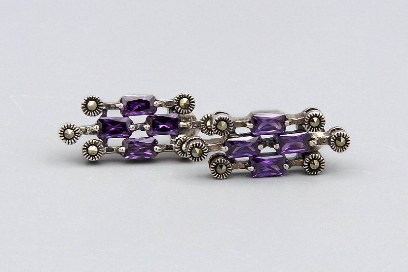 Sparkling Marcasite And Purple Quartz Cluster Stud Earrings In Sterling Setting